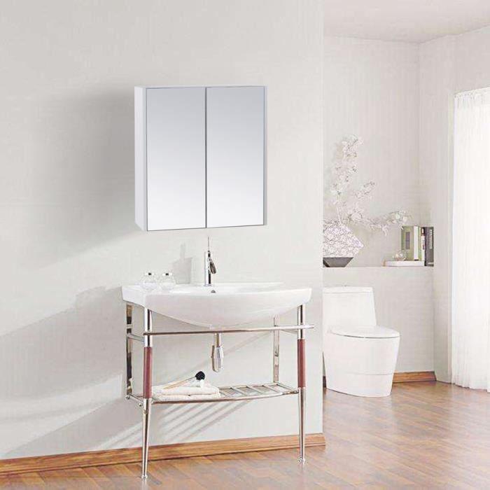 Armoire Meuble Salle De Bain Avec Miroir 2 Portes 60 65 11cm Mural