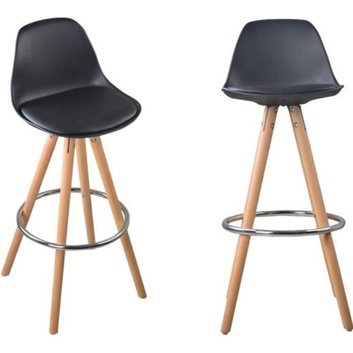 nordic lot de 2 tabourets de bar a1 noir bois massif cuir. Black Bedroom Furniture Sets. Home Design Ideas