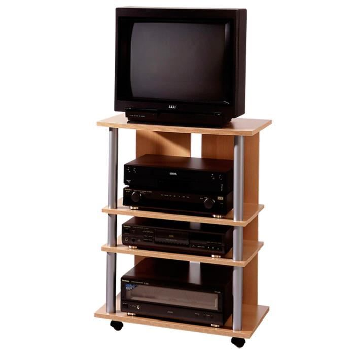 meuble tv avec 4 plateaux sur roulettes coloris h tre l65. Black Bedroom Furniture Sets. Home Design Ideas