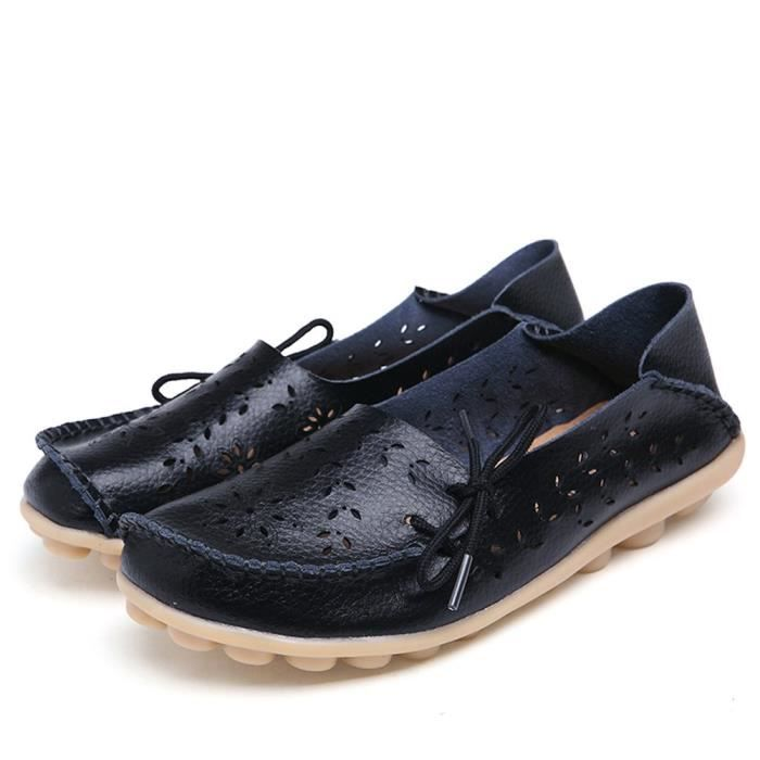 Women' S Leather Loafers Casual Moccasin Driving Outdoor Shoes Indoor Flat Slip-on Slippers PUQUB Taille-39