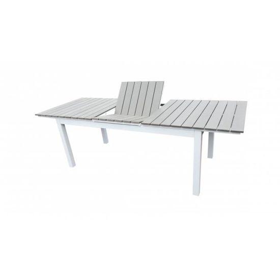 Table de jardin extensible aluminium 180-240cm blanc gris + 10 fauteuils  empilables textilène - PALMA 10