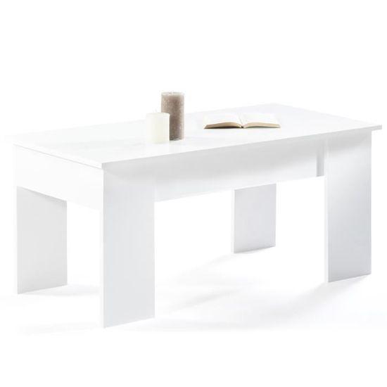 Table basse LIDIA Coloris Chêne /& blanc MDF