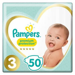 COUCHE PAMPERS Lot de 50 Couches Premium Protection Midi
