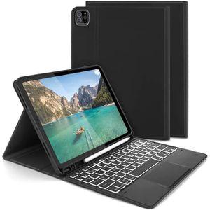 Housse Clavier Fran/çais AZERTY Bluetooth sans Fil D/étachable /Étui de Protection en TPU avec Porte-Stylo pour Apple Pencil Noir FINTIE Coque Clavier pour iPad Air 4/ème G/én/ération 10,9 2020