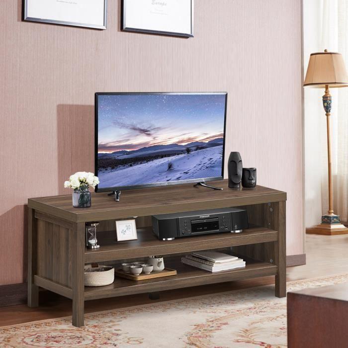 COSTWAY Meuble TV Support Télévision avec 2 Compartiments Ouverts 106,5 x 44,5 x 46 CM Console de Jeux pour Salon, Salle de Jeu