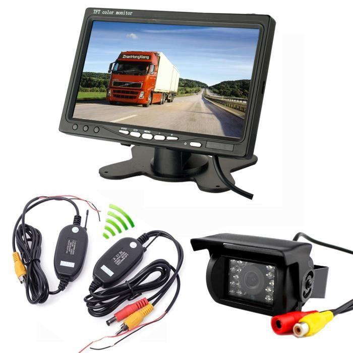 Kit de caméra de recul Sans Fil 7 pouces TFT LCD Moniteur + inversée Caméra Arrière 18 IR led + Récepteur et Émetteur