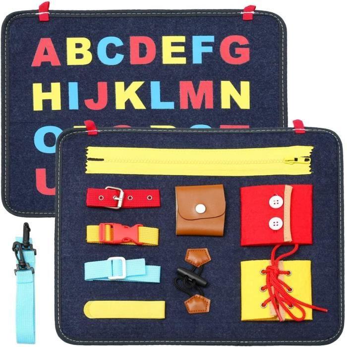 Jeu Tableau Activité Bébé Jouet-Montessori Busy Board Panneau Educatif Garcon Jouet d'Activité pour Motricité Fine Jouet Sensoriel a