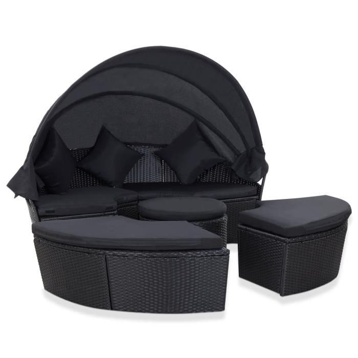 ZHIHU Chaise longue de jardin avec auvent Résine tressée Noir #3