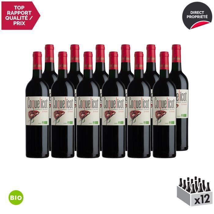 Coquelicot Syrah Rouge 2019 - Bio - Lot de 12x75cl - Bruno Andreu - Appellation IGP Côtes Catalanes - Vin Rouge du Languedoc -