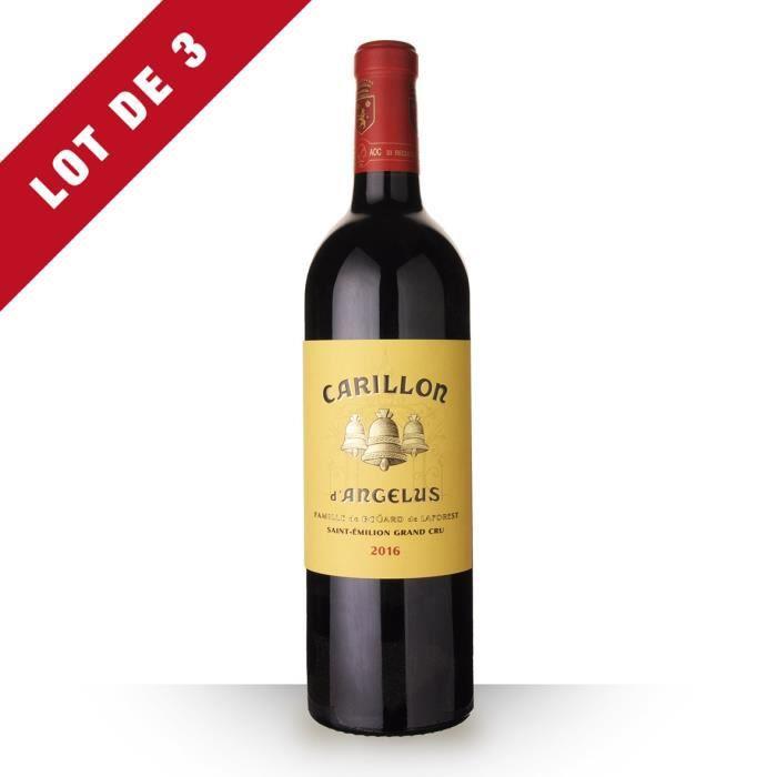 Lot de 3 - Le Carillon de L'angélus 2016 AOC Saint-Emilion Grand Cru - 3x75cl - Vin Rouge
