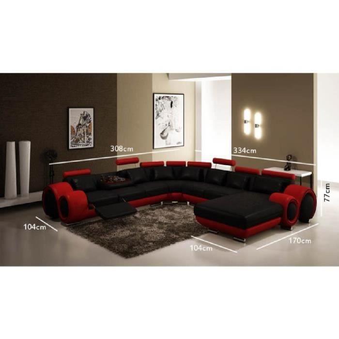 Canapé panoramique cuir noir et rouge OSLO (angle droite)