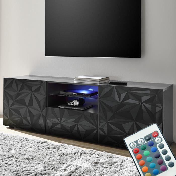 Grand meuble télé lumineux design laqué gris NINO 2 L 181 x P 42 x H 79 cm Gris