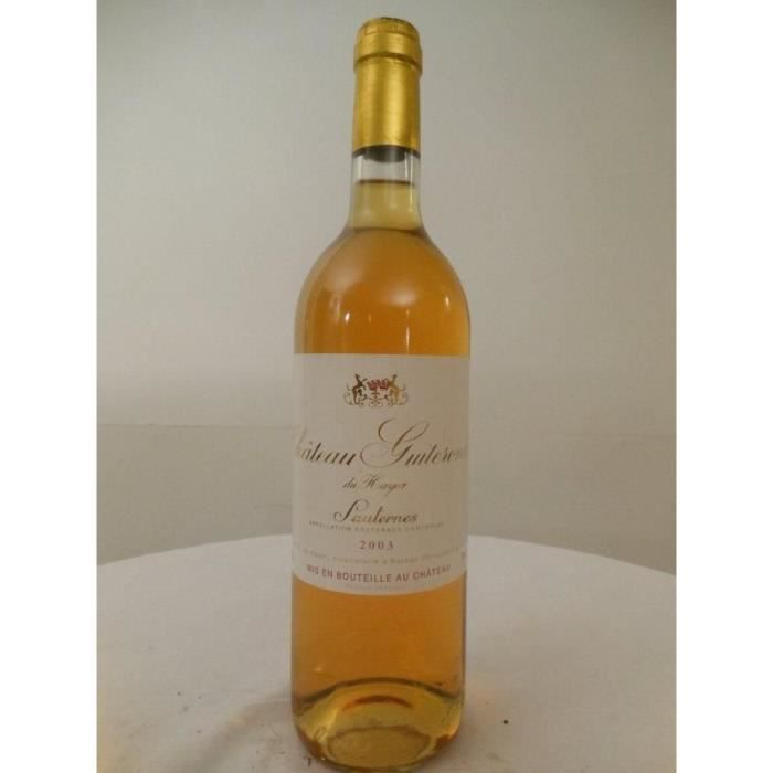 sauternes château guiteronde du hayot liquoreux 2003 - bordeaux france