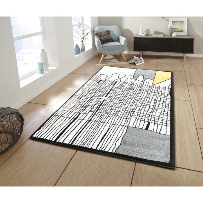 CALI Grand tapis de salon graphique - 200 x 280 cm - jaune