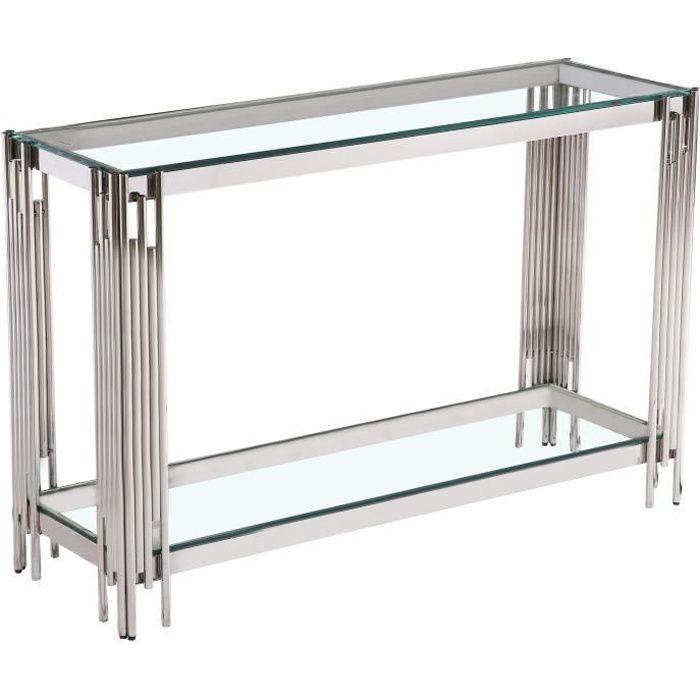 Console design en acier argenté avec plateau en verre transparent collection MILANO L. 120 x P. 40 x H. 78 cm Argenté, Transparent