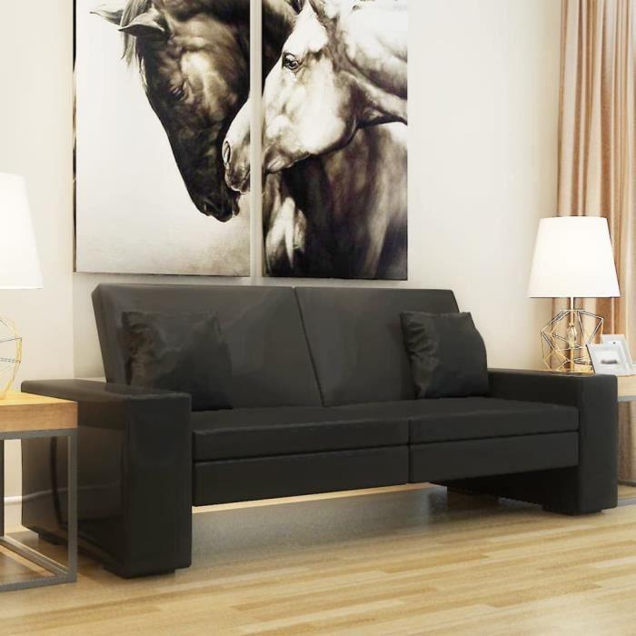 Design Moderne Canapé-lit Cuir artificiel Noir Haut de gamme &421325