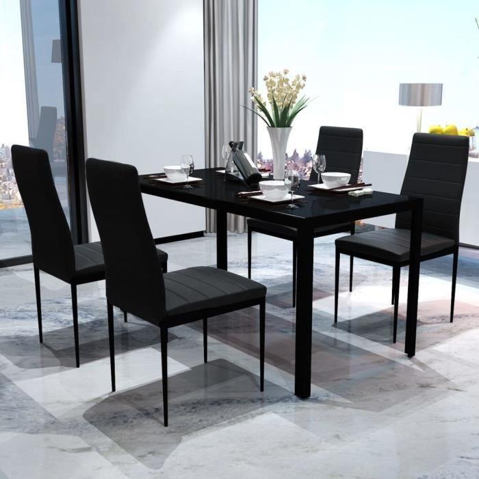 Ensemble Table de bar + 4 tabourets bar - Mange-Debout Résine tressée et bois d'acacia Noir