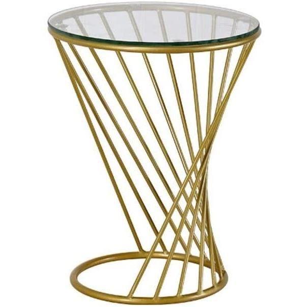 Petite table basse Table basse ronde Table d'appoint Table en verre transparent Base en spirale Design Décoration idéale for la 493