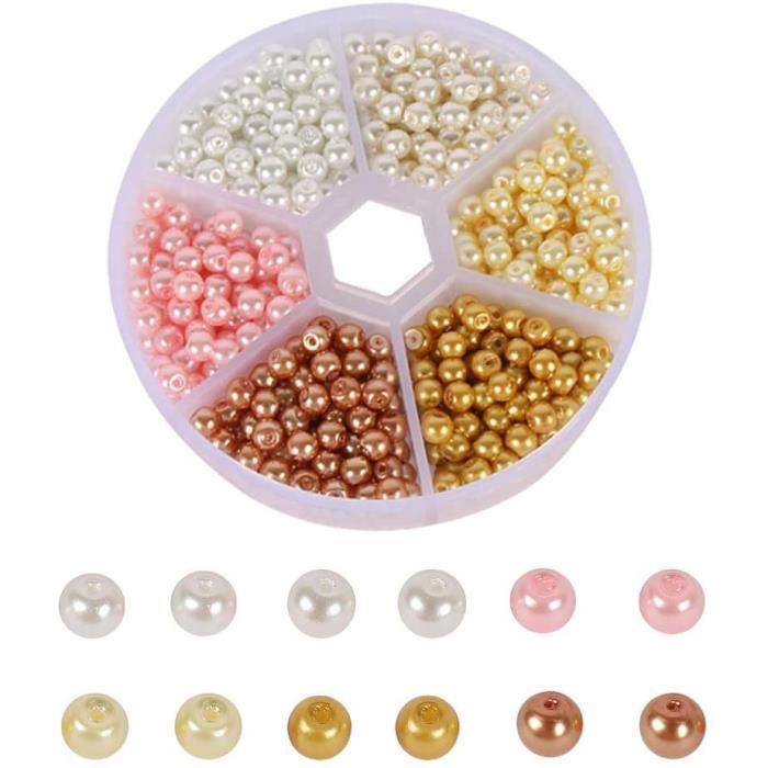 Aweisile Perles Rondes Pièces 4 mm Perle Nacre Perle en Verre Multicolore Perles Rondes en Verre Perle Rond avec Boîte pour DI A168