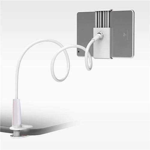 SOONHUA support pour téléphone 360 rotatif Flexible Long bras paresseux support pour téléphone pince lit tablette - Type WHITE