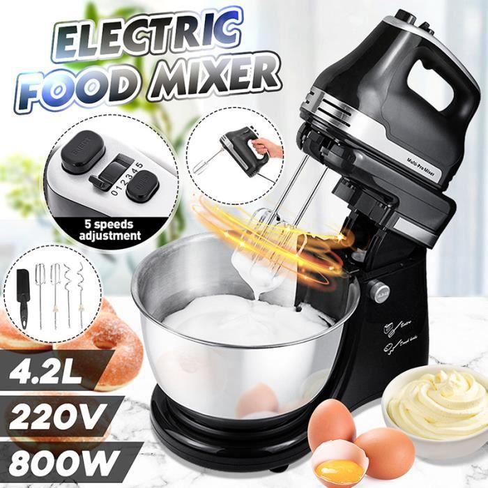 800W 4,2 L Robot pâtissier - robot de cuisine avec bol multifonction - noire en Acier inoxydable