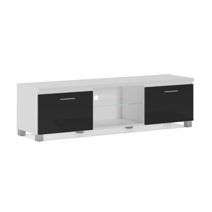Meuble bas TV LED, Salon-Séjour, Blanc Mate et Noir Laqué, Dimensions: 150 x 40 x 42 cm de profondeur.