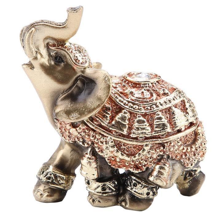 Qiilu Statue d'éléphant Chanceux Feng Shui Golden Elephant Statue Sculpture Richesse Figurine Cadeau Décoration (S)