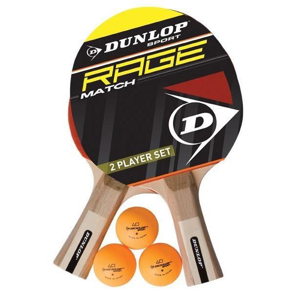 DUNLOP Set de tennis de table Rage Match 2 Joueurs 2 raquettes + 3 balles
