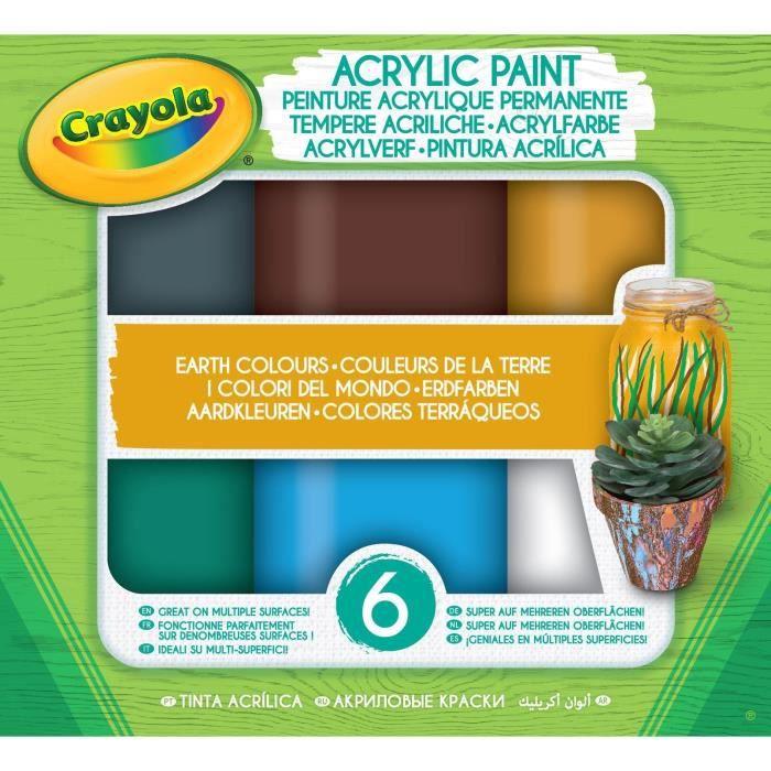 Crayola - Acrylic Paint - Couleurs de la Terre - Peinture et accessoires