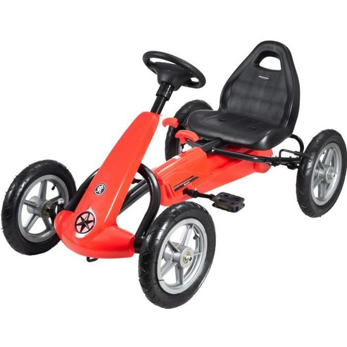 HyperMotion Go Kart à Pédales Voiture à Pédales Enfant 5 à 12 ans Frein à Main Roues Pompées Rouge