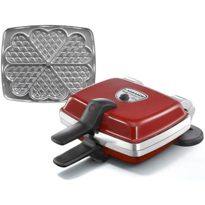 LAGRANGE 039511 Gaufrier électrique Super 2 - Rouge