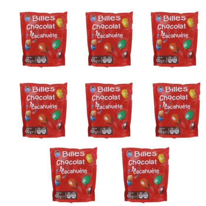 [Lot de 8] Bonbons Billes au chocolat et cacahuète - 400g par paquet