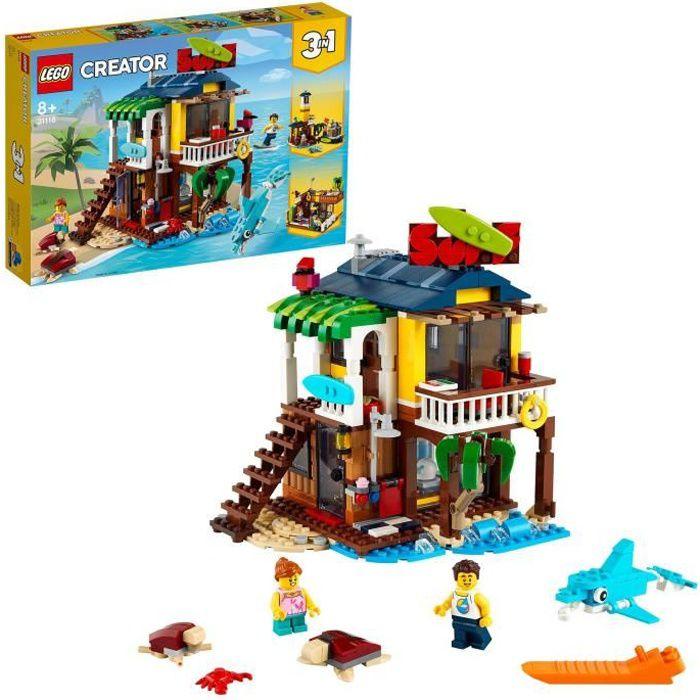 LEGO® Creator 3-en-1 31118 La maison sur la plage du surfeur Set incluant une cabane avec piscine, un phare et des animaux