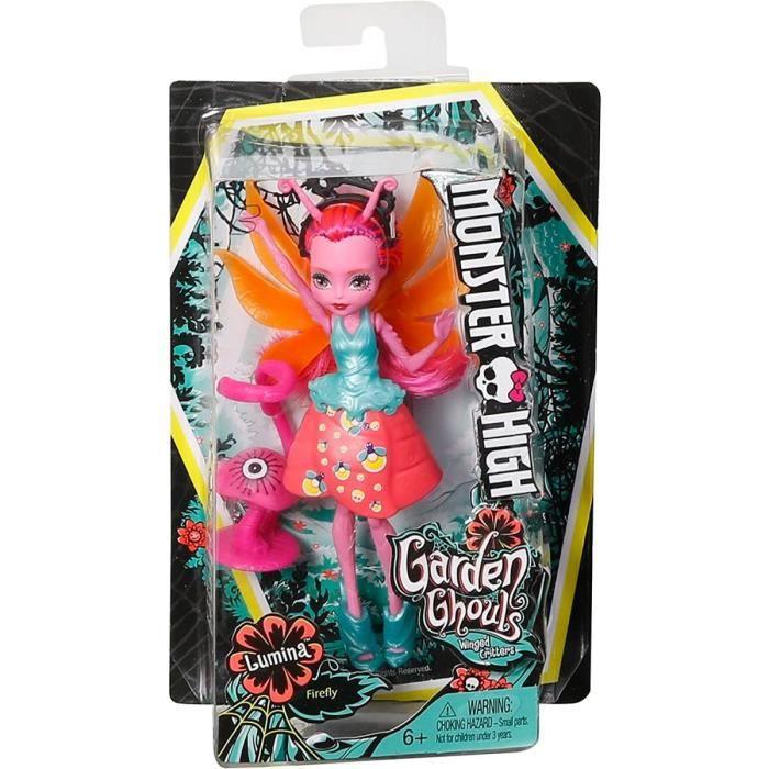 Monster High Poupee Friendly Jardin Lumina La Luciole Avec Creature Volante - Poupee avec Ailees
