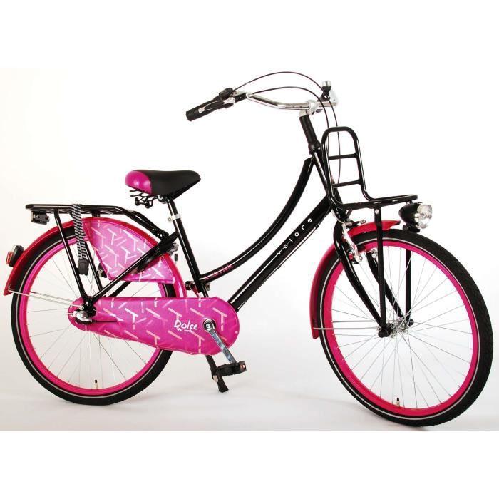 Vélo Enfant Fille 24 Pouces Dolce Frein Avant sur Le Guidon et Le Frein Arrière à Rétropédalage Shimano Nexus 3 Vitesses 95% Noir