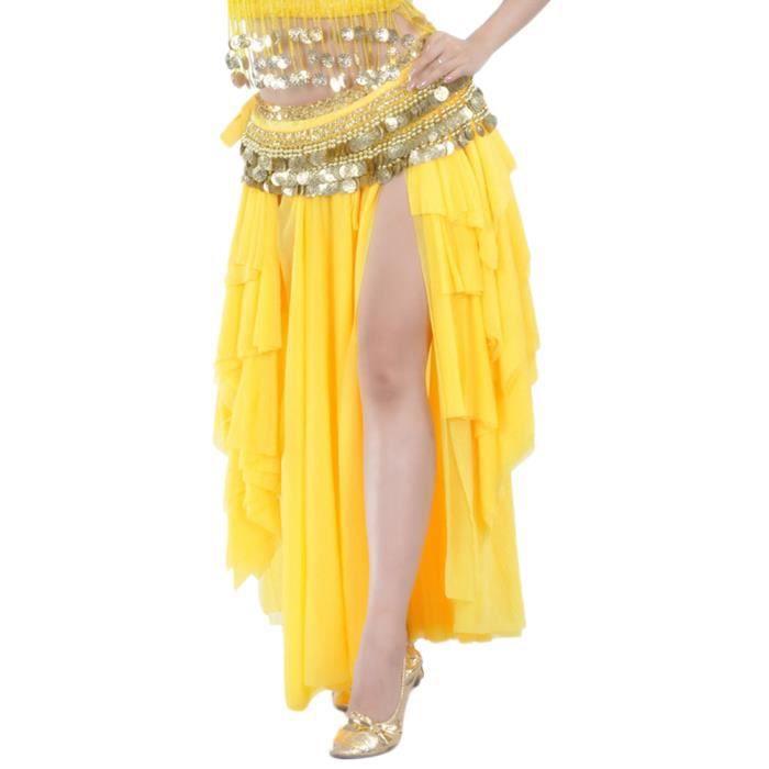Femme Jupe De Danse Élastique Taille Sans Ceinture Jaune