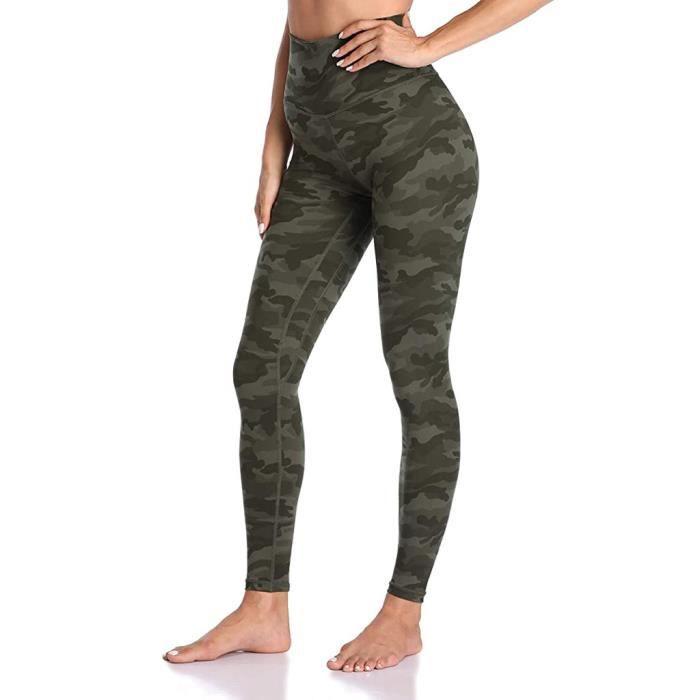 Pantalon de yoga taille haute sport pour femme Legging imprimé camouflage Activewear Vert militaire