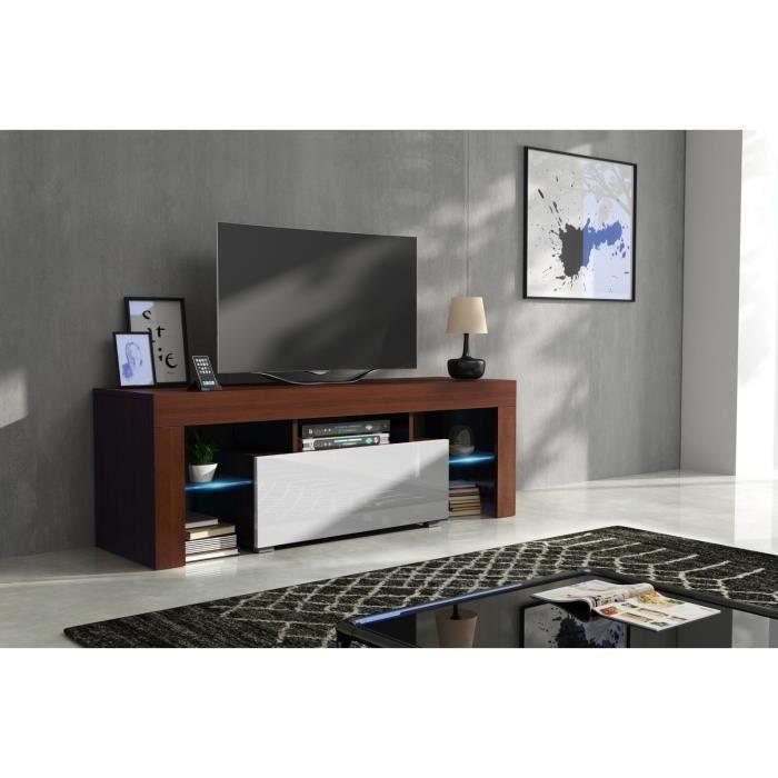 Meuble tv 130 cm corps noyer mat et porte laquée blanc avec led