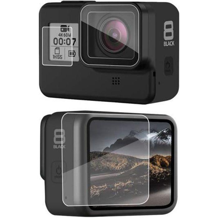 ®cBOX pour GoPro HERO Black 8 - kit de 3 Film Protecteur en Verre Trempé: Ecran, objectif et LCD digital