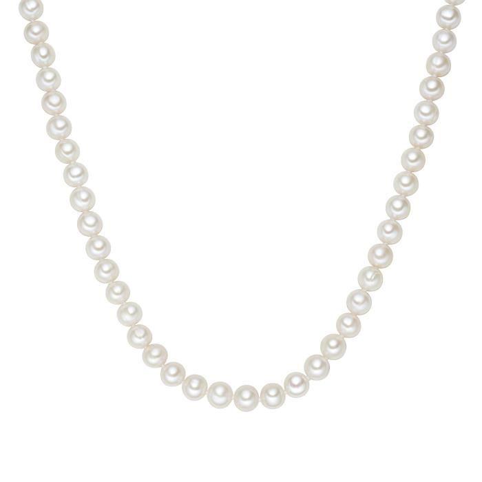 Valero Pearls - Collier de perles - Perles de culture d'eau douce - Soie perlée - Argt sterling 925 - Bijoux de perles