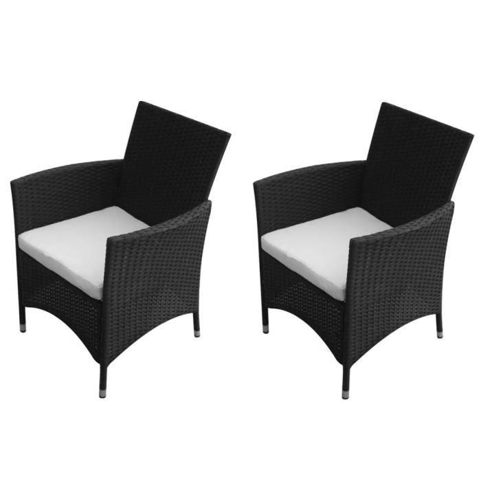 Chaises de jardin 2 pièces Rotin synthétique Noir