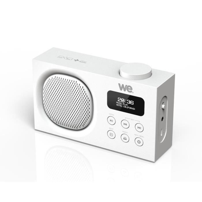 Radio portable DAB+-FM rechargeable RMS 3W, Double alarme, Luminosité réglable Blanche