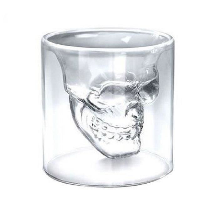 "Verre à cocktail  4x Verre Alcool ""Tete Mort"" Head Shot Skull Cryst"