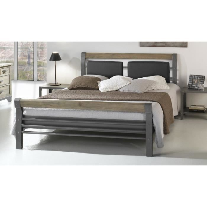 lit adulte m tal 160x200 bilbao ferplay gris achat vente structure de lit cdiscount. Black Bedroom Furniture Sets. Home Design Ideas