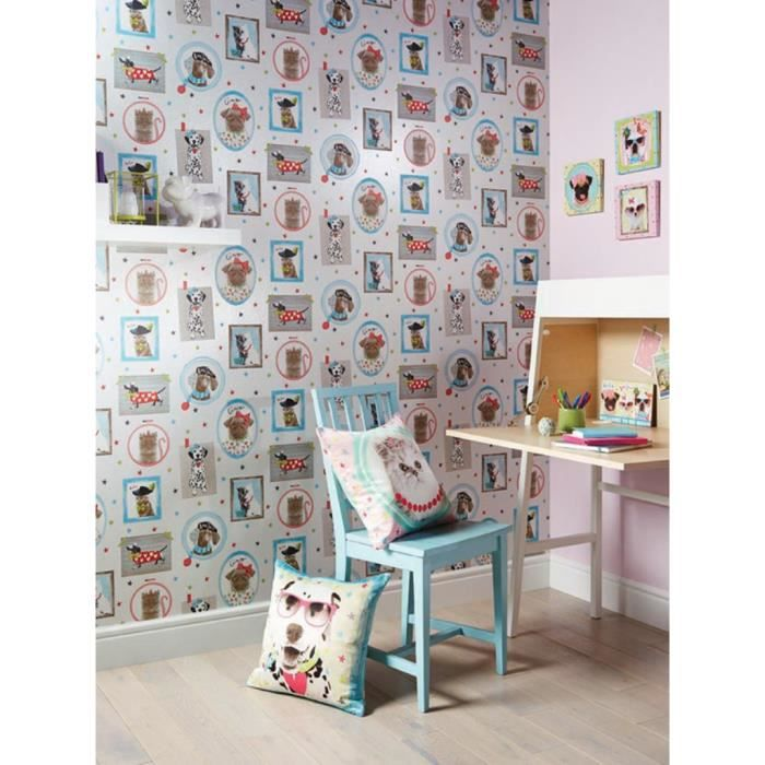 papier peint chiens et chats achat vente papier peint cdiscount. Black Bedroom Furniture Sets. Home Design Ideas