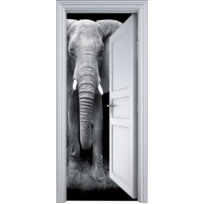 sticker porte trompe l oeil el phant 90x200cm achat vente stickers vinyl carton cdiscount. Black Bedroom Furniture Sets. Home Design Ideas