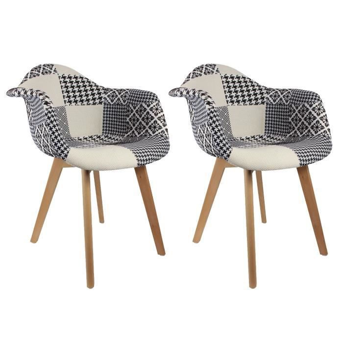 lot de 2 fauteuils scandinaves patchwork noir et blanc achat vente fauteuil noir cdiscount. Black Bedroom Furniture Sets. Home Design Ideas