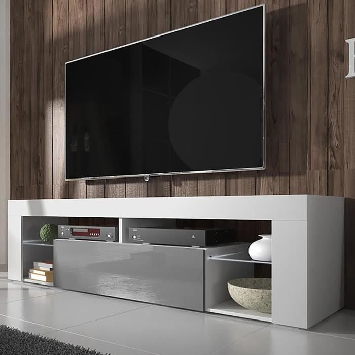 Meuble tv hugo blanc mat gris brillant sans led achat for Meuble tele gris et blanc