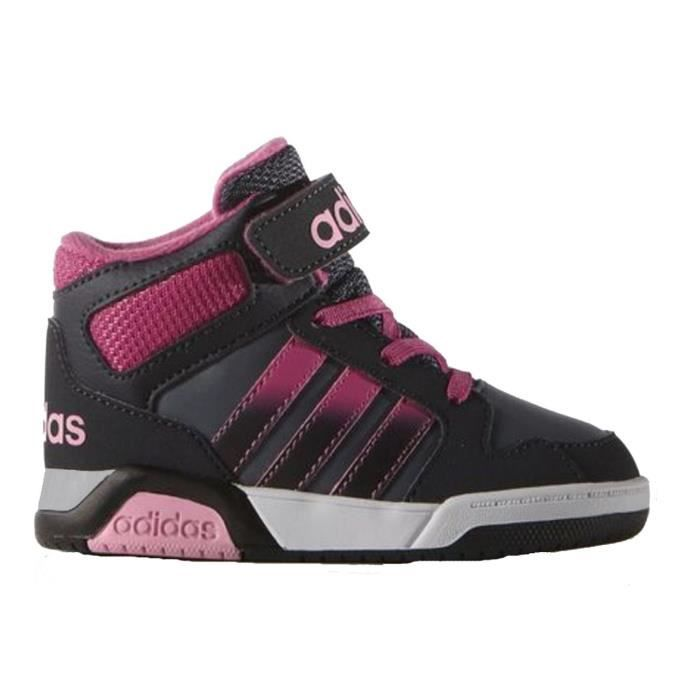 adidas neo baskets bb9tis chaussures b b fille gris noir et rose achat vente basket. Black Bedroom Furniture Sets. Home Design Ideas