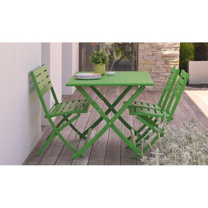 Salon de jardin en aluminium vert 4 places : pliant et gain ...